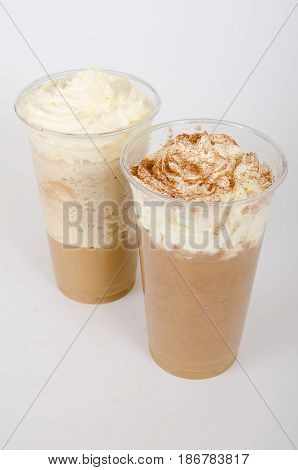 Ice Mocha frappuccino on white isolate background