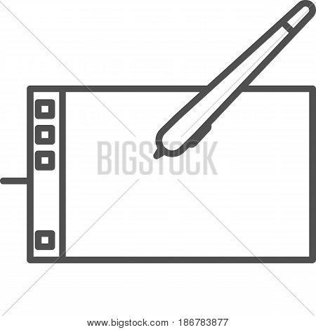 Simple artistic and hobby Vector line artIcon. Graphic tablet for digital painting. line art style icon. 48x48 Pixel Perfect.