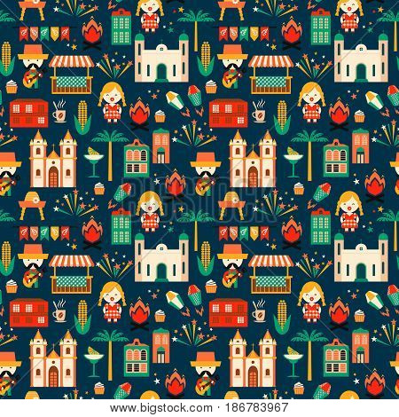 Latin American holiday, the June party of Brazil. Flat seamless pattern with symbolism of the holiday Festa Junina.