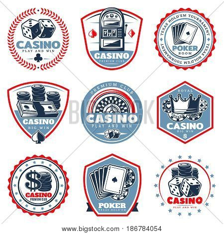 Vintage colored casino labels set with slot machine playing cards dices crown roulette coins money chips isolated vector illustration