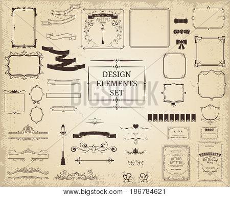 Vintage design elements collection with ribbons frames borders elegant decorations ornaments on light background isolated vector illustration
