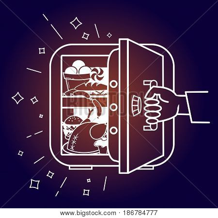 The concept of a diet in the form of a hand tearing away the safe refrigerator with products in the form of a symbol of the not to eat harmful products in evenings. Icon in the linear style