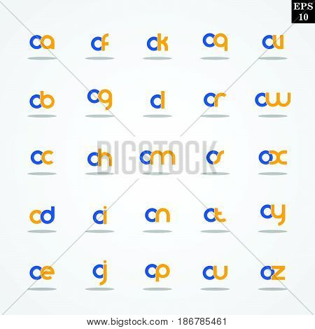 Initial letter O compilation from A to Z lowercase logo design template colorful