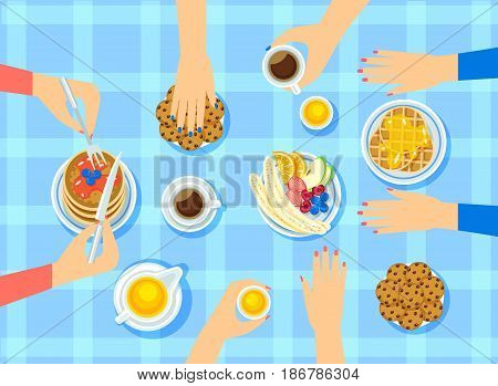Light women meeting concept with different sweet products pancakes fruits berries coffee honey on blue tablecloth vector illustration