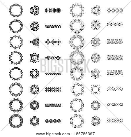 Decoration patterns in big pack. Mega set of the most popular ethnic smooth elements. Monochromatic vintage signs round frames borders and dividers. Isolated on white. Vector illustration