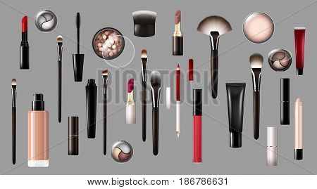 Realistic makeup products collection with cosmetic equipment tools and accessories on gray background isolated vector illustration