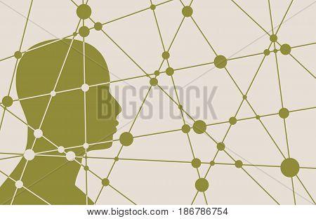 Silhouette of a man's head. Mental health relative vector brochure, report or flyer design template. Scientific medical designs.