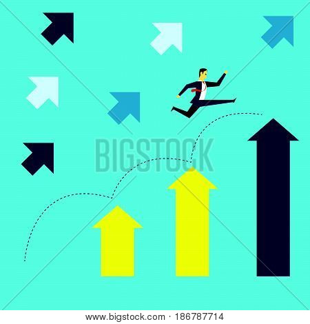 Grow up. Manager jumped onto the up arrow increase in the target company with the spirit. Concept business vector illustration.