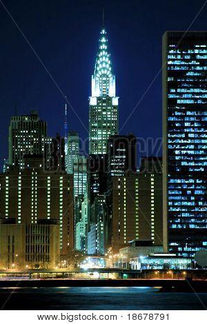 Midtown Manhattan Skyline bei Nacht, New York City