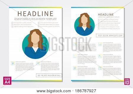 Vector flyer poster leaflet annual report design template with sample text. Layout design A4 paper design template fully layered design business vector illustration presentation.