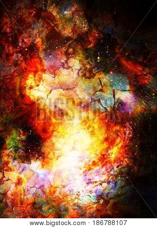 Cosmic space and stars, color cosmic abstract background. Crackle and fire effect