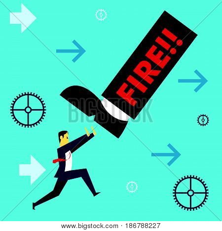Standing survive. Businessman working withstand the threat of dismissal. Concept business vector illustration.