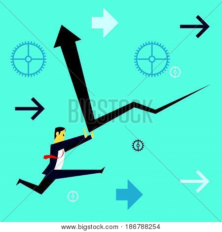 Standing survive. Businessman running and dispels the financial downturn. Concept business vector illustration.