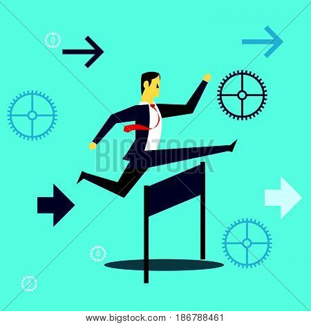 Running fore. Businessman running and jumping over obstacles in work. Concept business vector illustration.