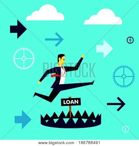 Running fore. Businessman running to avoid pitfalls giant of a loan. Concept business vector illustration.