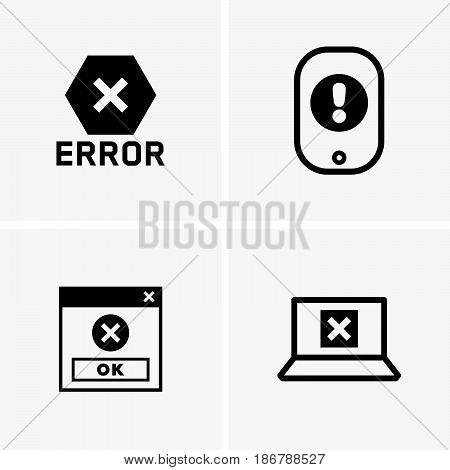 Set of four error symbols with crosses