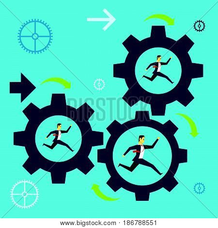 Running fore. Businessman team running in a gear the company towards success. Concept business vector illustration.