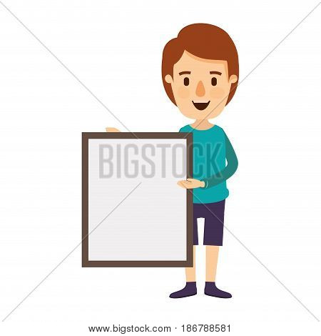colorful image caricature full body man holding a square poster vector illustration