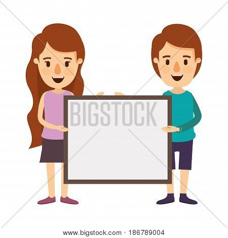 colorful image caricature full body couple holding a square poster vector illustration