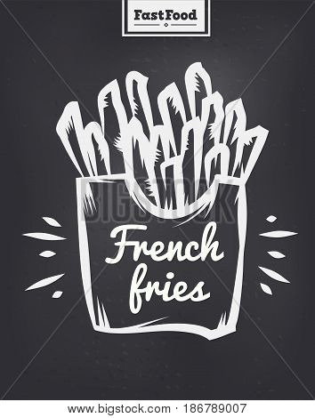 Vector hand drawn French fries poster or card. Sketch cards. Cute vintage illustrations. Vector stock illustration. . French fries background. Template for design or tshirt.