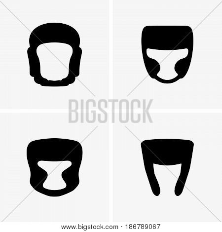 Set of four boxing helmets ( shade pictures )