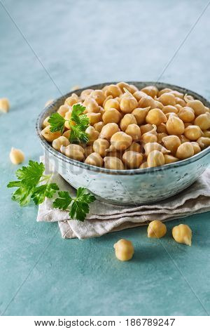 Sprouted chickpeas in the bowl. Healthy food. Selective focus