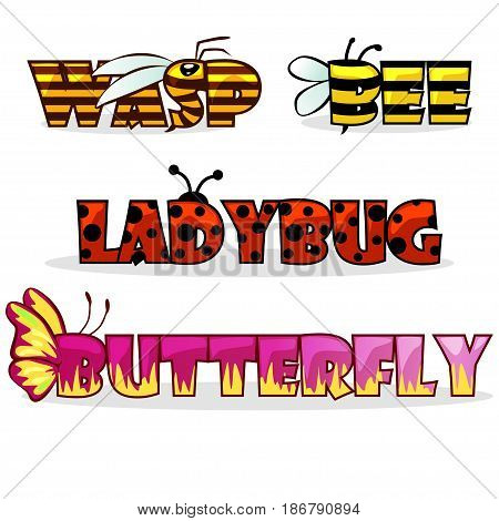 cute cartoon stylised text insects. Name bee, Butterfly and ladybug