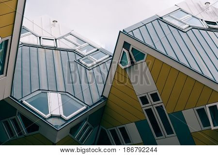 Rotterdam Netherlands - August 6 2016: Cube houses designed by architect Piet Blom. They are a set of innovative houses and based on the concept of
