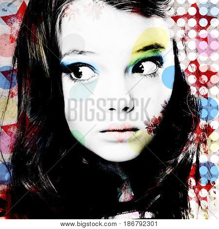 Bright Colorful Portrait Of A Thoughtful Girl In Modern Style Pop Art. Computer Design. Contemporary