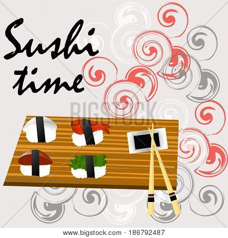 Sushi, Japanese food on a wooden background. Sushi rolls flat food and japanese seafood sushi rolls. Asia cuisine restaurant delicious. Sushi roll with salmon,