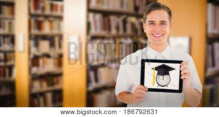 Geeky businessman showing his tablet pc against close up of a bookshelf