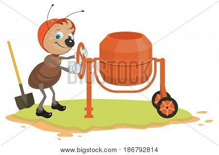 Working ant and concrete mixer. Isolated on white vector cartoon illustration
