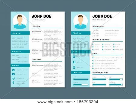Cartoon Company Application Cv Resume Template Flat Style Design Skill, Experience and Vitae. Vector illustration