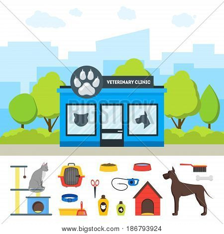 Cartoon Veterinary Clinic Building and Elements Set Flat Style Design Domestic Animal Treatment. Vector illustration