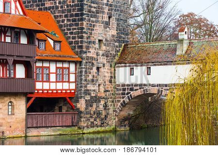 Nuremberg, Germany - December 24, 2016: Icon city view of Nuremberg, Germany with half-timbered house and bridge in Bavaria