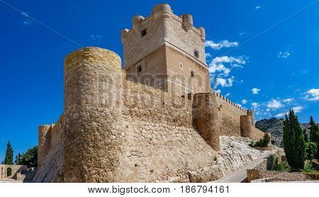 Ultra wide angle shot of Villena Castle. Villena is the part of Route of the Castles