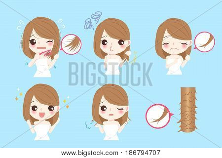 cute cartoon woman with problem of split ends