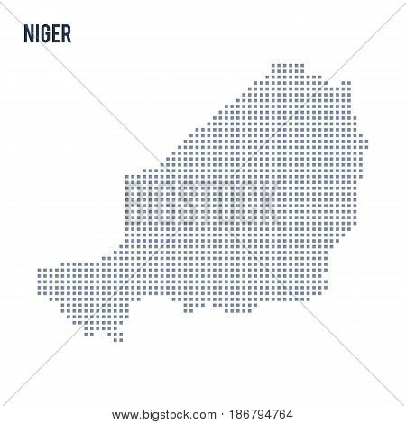Vector pixel map of Niger isolated on white background . Travel vector illustration