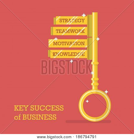Key success of business. Flat style Vector illustration