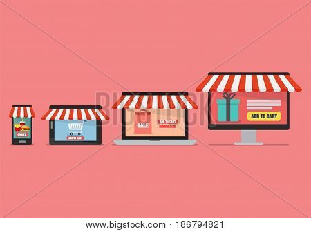 Online shopping concept in flat style. mobile devices and internet shopping concept