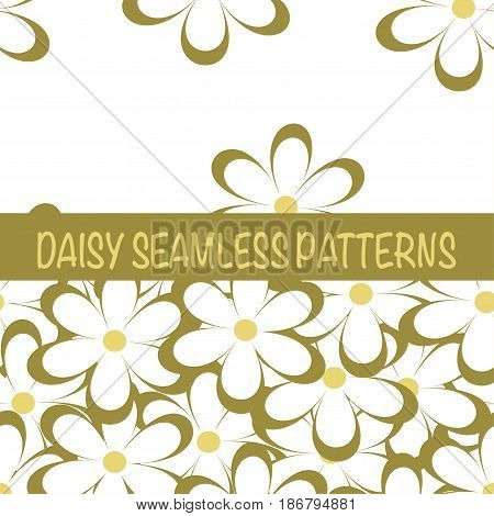 Set of seamless naive minimalistic patterns with little flowers. Floral print. Field of beige camomiles on white background. For wrapping fabric and other design. Vector illustration.