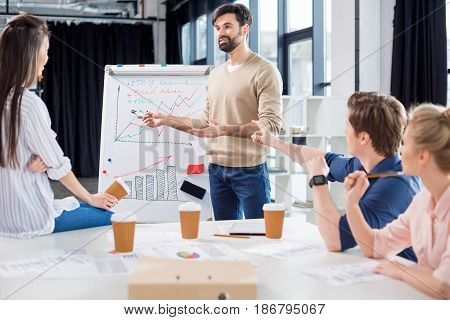 Group Of Young Business People Discussing Charts And Statistics On Small Office Meeting