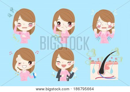 cartoon businesswoman with body odor before and after