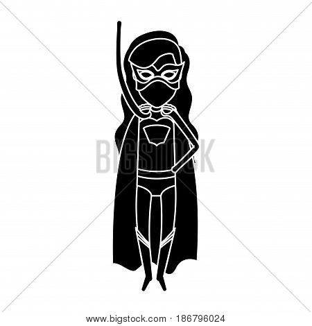 silhouette black front view superwoman in outfit with hand up vector illustration