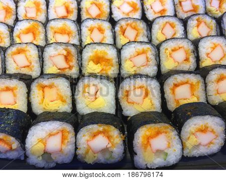 Sushi In Tray.