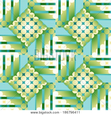 Abstract geometric seamless background. Regular checked pattern with circles light green, beige, light blue and turquoise.