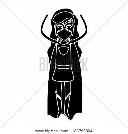silhouette black front view superwoman standing in outfit with hand up vector illustration