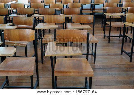 chair wood in classroom high school .