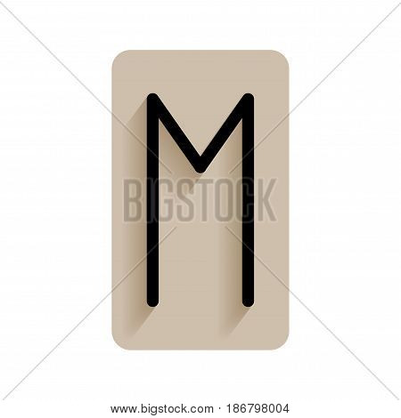 Ehwaz. Runic alphabet and letters. Flat icon on white background for divination, prediction. Vector