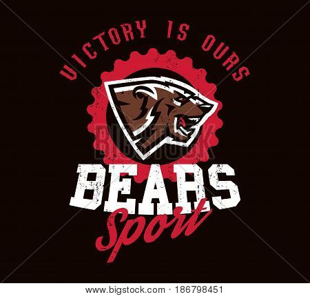 Design for printing on T-shirts, aggressive bear ready to attack. Predator of the forest, dangerous beast, grizzly, wild animal, mascot, sports identity, lettering. Vector illustration, grunge effect.